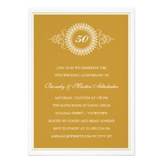 Invitación de oro del fiesta del medallón del aniv