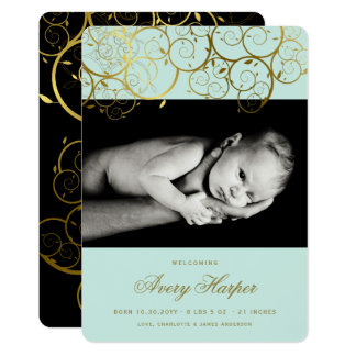 Tarjeta Invitación de oro del nacimiento de la foto del