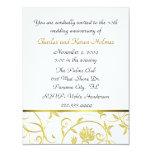 Invitación de oro elegante del aniversario invitación 10,8 x 13,9 cm