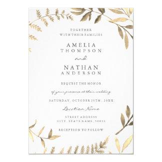 Invitación de oro moderna del boda de la hoja