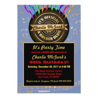 Invitación de oro OFICIAL del fiesta del Oldie