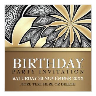 Invitación de oro tribal abstracta de la fiesta de