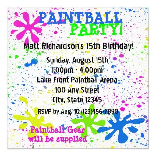 Invitación de Paintball