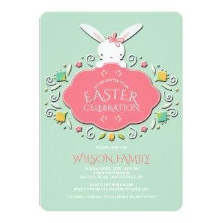 Invitación de Pascua del conejito de la niña
