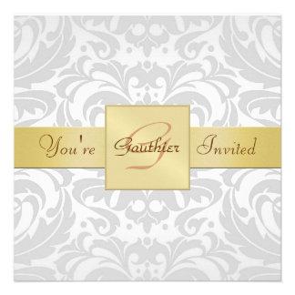 Invitación de plata de la cinta del oro del damasc