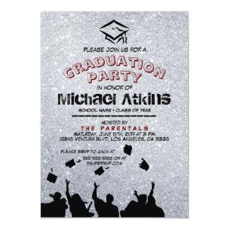Invitación de plata de la fiesta de graduación del
