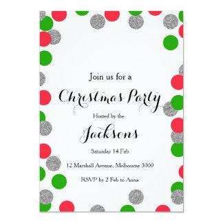 Invitación de plata de la fiesta de Navidad