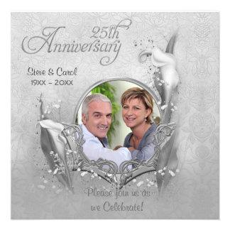 Invitación de plata de la foto de la cala del aniv