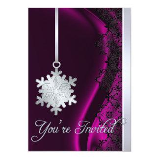 Invitación de plata de la seda del rosa de la