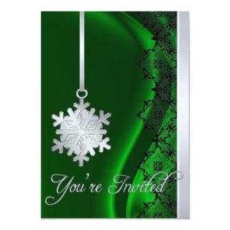 Invitación de plata de la seda del verde de la