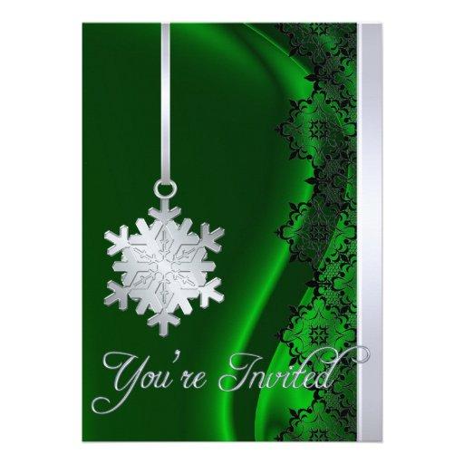 Invitación de plata de la seda del verde de la dec