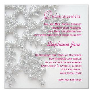 Invitación de plata de Quinceanera del copo de