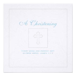 Invitación de plata del bautizo del muchacho de la