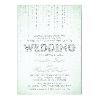 Invitación de plata del boda de la mirada del invitación 12,7 x 17,8 cm