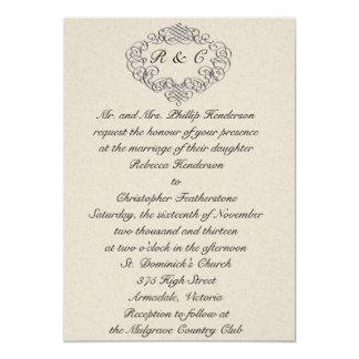 Invitación de plata del boda del Flourish
