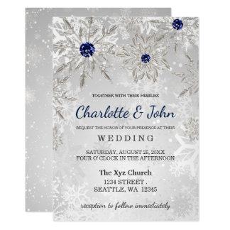 Tarjeta invitación de plata del boda del invierno de los