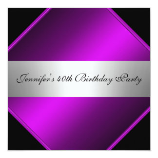Invitación de plata púrpura de la fiesta de