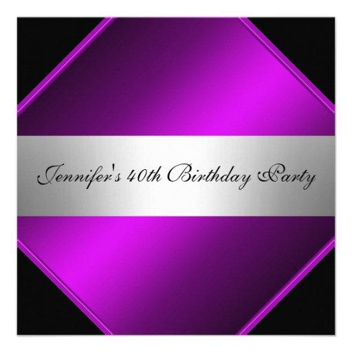 Invitación de plata púrpura de la fiesta de cumple