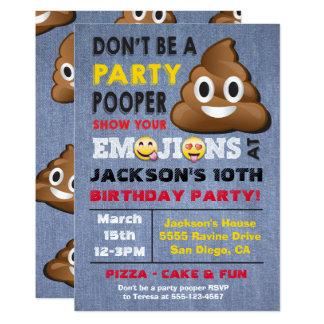 Invitación de Pooper Birthay del fiesta de Emoji