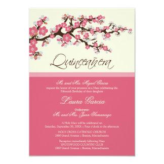 Invitación de Quinceanera de la flor de cerezo