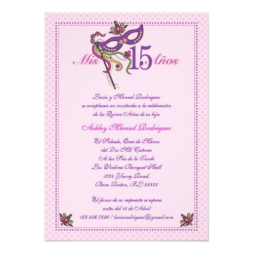 Invitaci  N De Quincea  Era De La M  Scara 15 De Zazzle Es