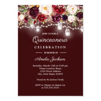 Invitación de Quinceanera de las luces florales de