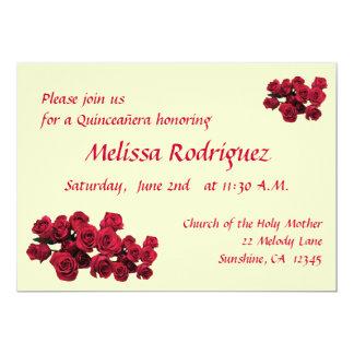 Invitación de Quinceanera de los rosas rojos