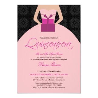 Invitación de Quinceanera del vestido de bola de