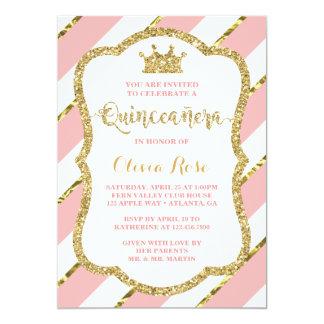 Invitación de Quinceañera, rosa, oro, corona
