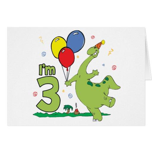 Invitación de relleno del 3ro cumpleaños de Dino Tarjeta Pequeña