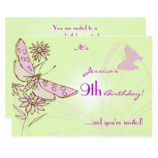 Invitación de RSVP del cumpleaños de la mariposa