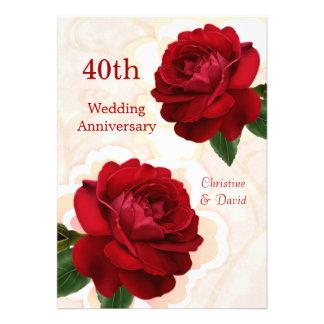 Invitación de rubíes del aniversario de boda de lo