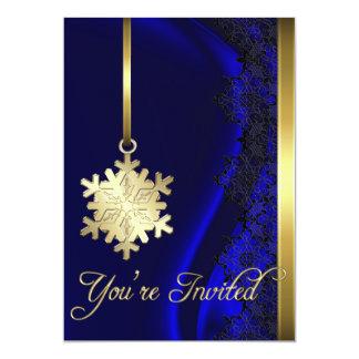 Invitación de seda azul de la decoración del copo