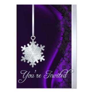 Invitación de seda púrpura de la decoración de
