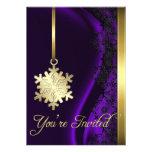 Invitación de seda púrpura de la decoración del co