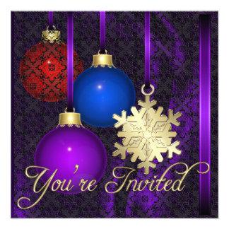 Invitación de seda púrpura del cordón de las decor