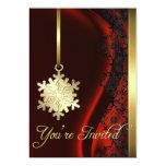 Invitación de seda roja de la decoración del copo