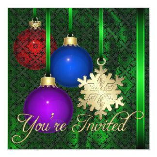 Invitación de seda verde del cordón de las
