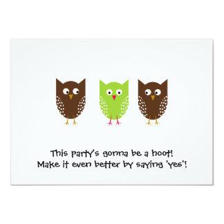Invitación de tres búhos