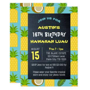 Invitación Décimosexto Cumpleaños Hawaiano Tropical Azul De
