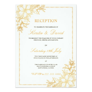 Invitación decorativa de la recepción nupcial