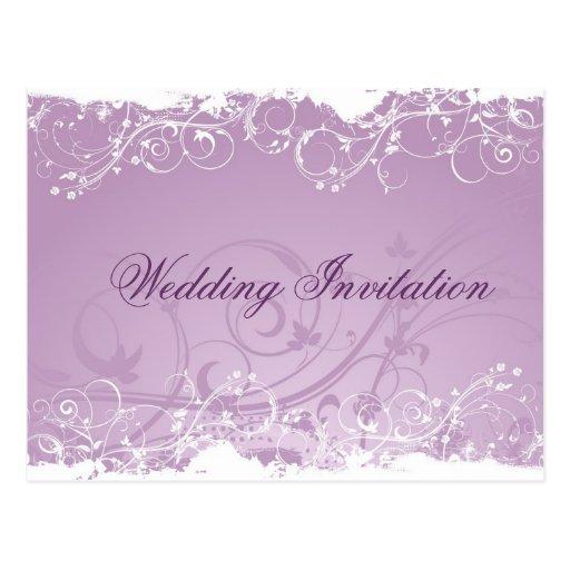 Invitación decorativa del boda del diseño floral postales