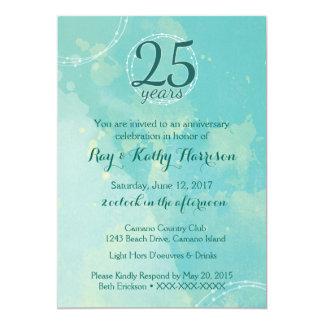 Invitación del aniversario de boda de la acuarela