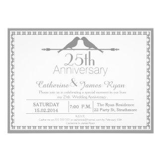 Invitación del aniversario de boda de los pájaros