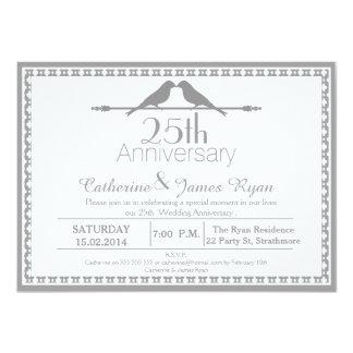 Invitación del aniversario de boda de los pájaros invitación 11,4 x 15,8 cm