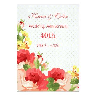 Invitación del aniversario de boda de los rosas
