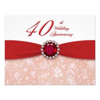 Invitación del aniversario de boda del damasco 40.