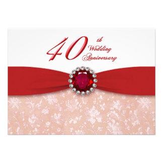 Invitación del aniversario de boda del damasco 40
