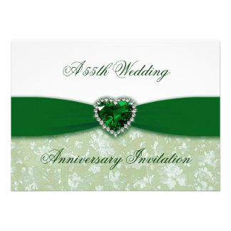 Invitación del aniversario de boda del damasco 55