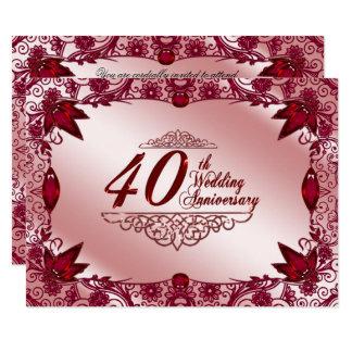 Invitación del aniversario de boda del rubí 40.o